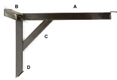 Cantilever Wall Mount Table Base Bracket for Booths