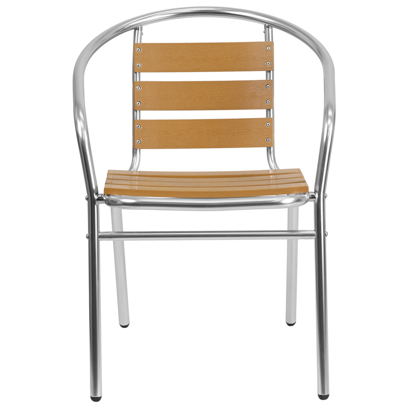 Aluminum Indoor-Outdoor Stack Chair with Triple Slat Faux Teak Back