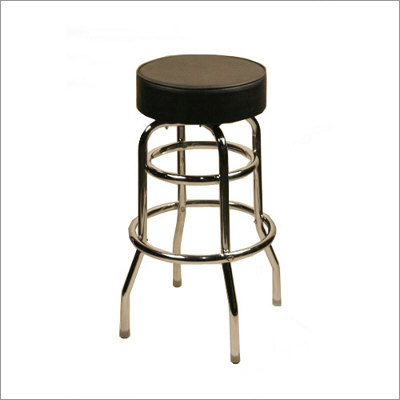 Backless Button Top Double Rung Frame Swivel Bar Stool