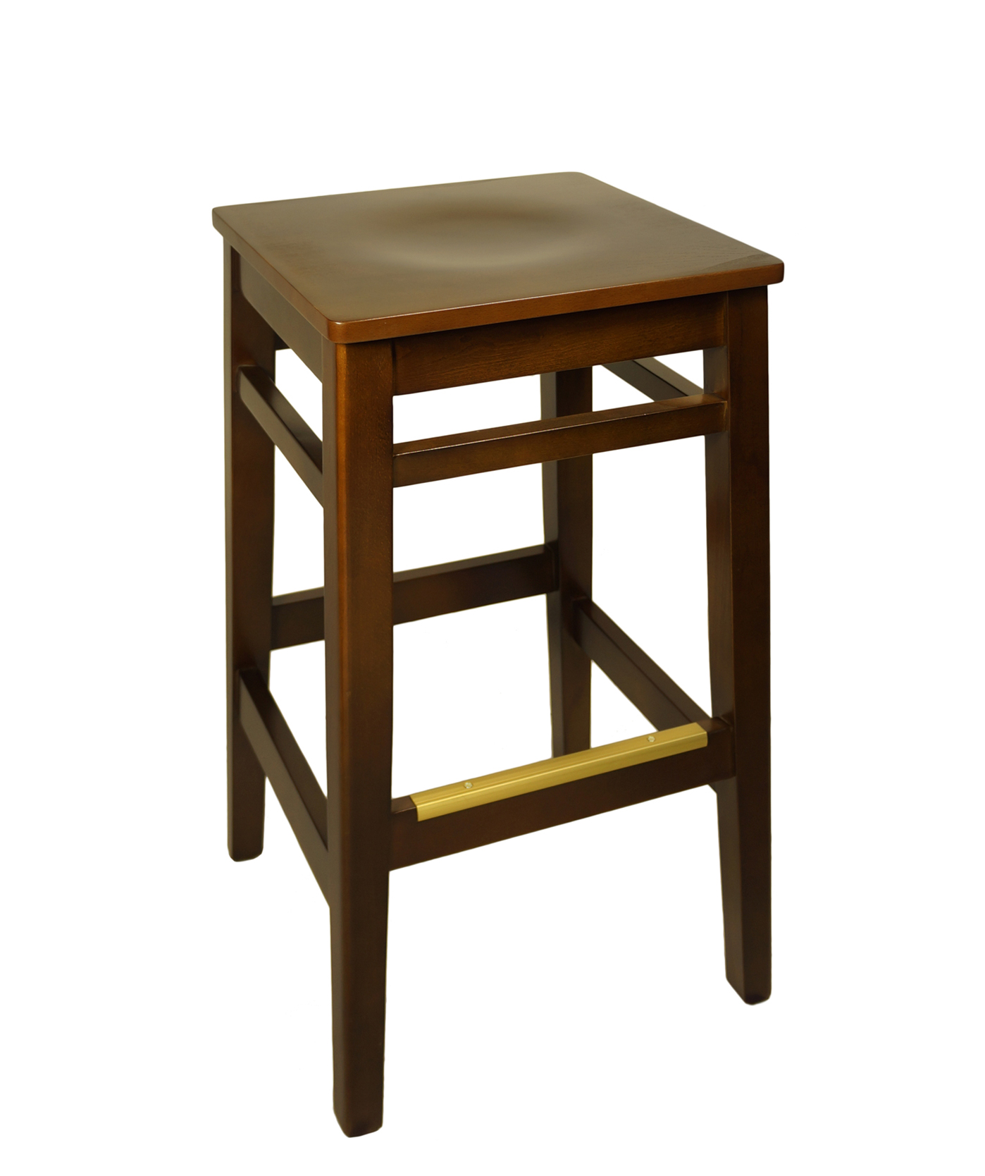 Backless Wood Frame Square Seat Stool