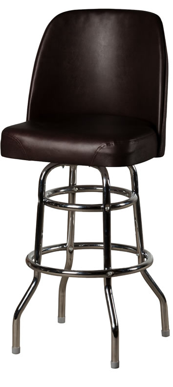 Bucket Seat Double Rung Chrome Frame Swivel Barstool