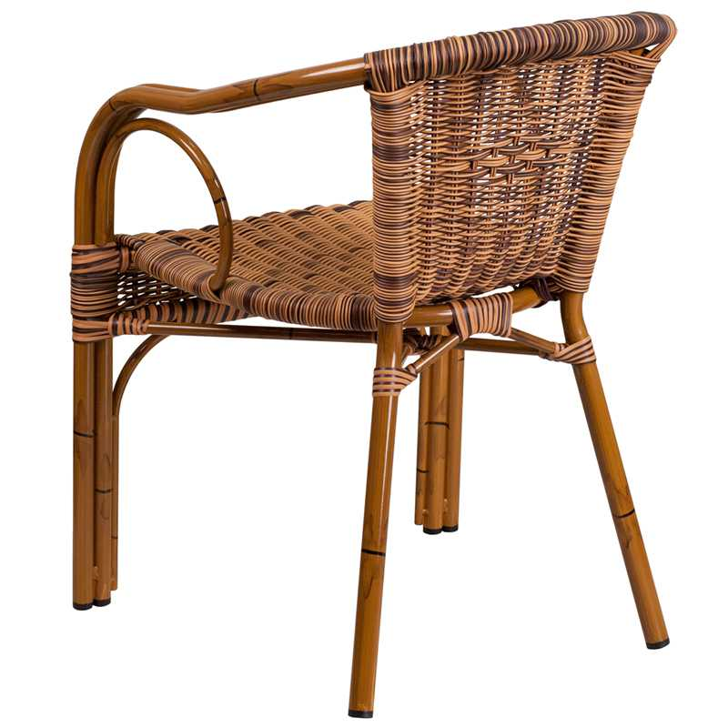 Cadiz Burning Brown Rattan Chair With Dk Red Bamboo Aluminum Frame