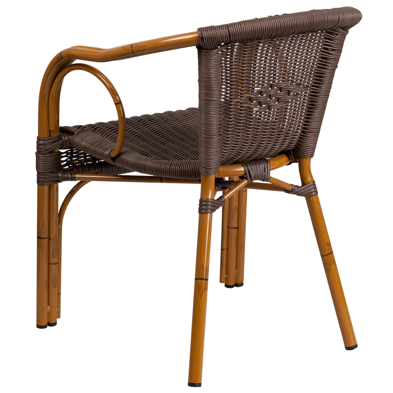 Cadiz Dark Brown Rattan Chair With Red Bamboo Aluminum Frame