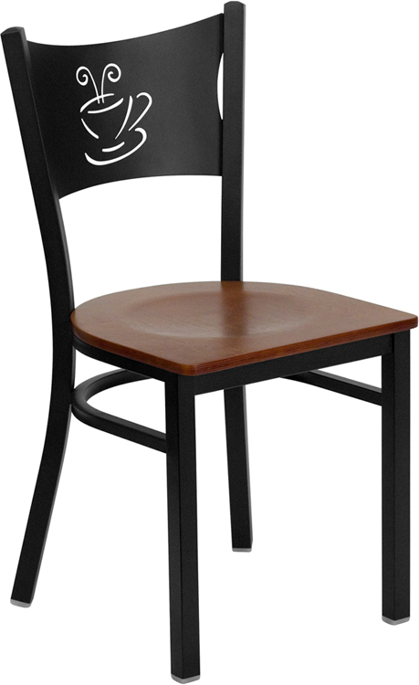 Coffee Back Metal Frame Side Chair