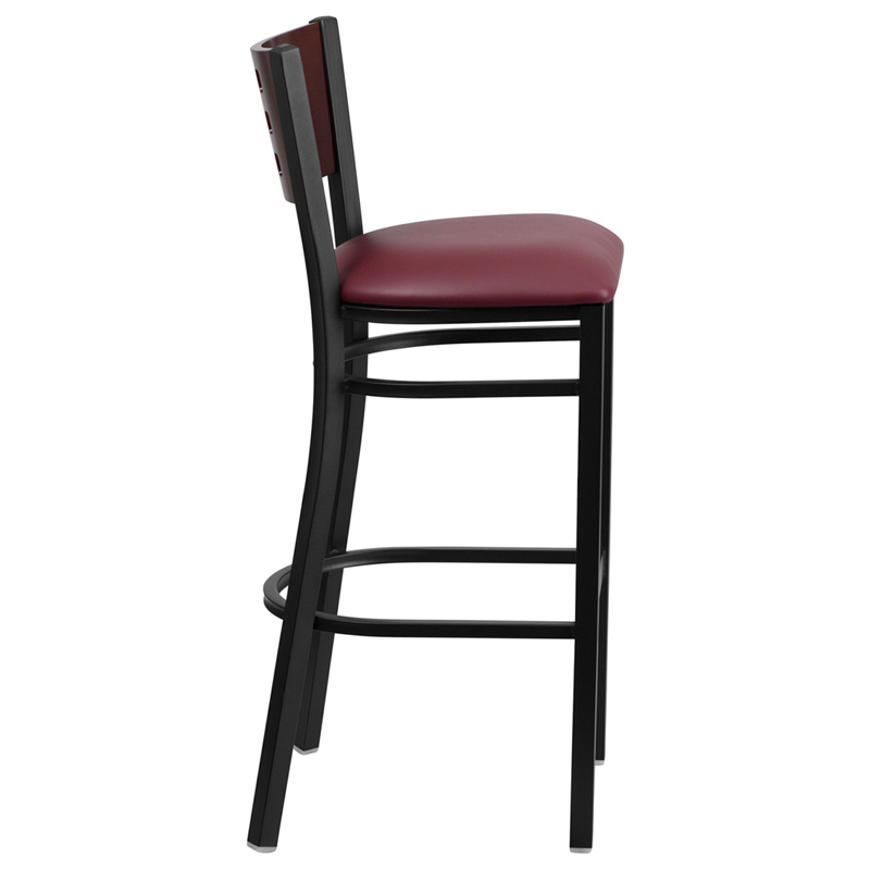 Cutout Mahogany Wood Back Bar Stool