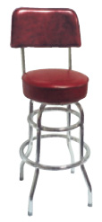 Double Ring Chrome Bar Stool with Back