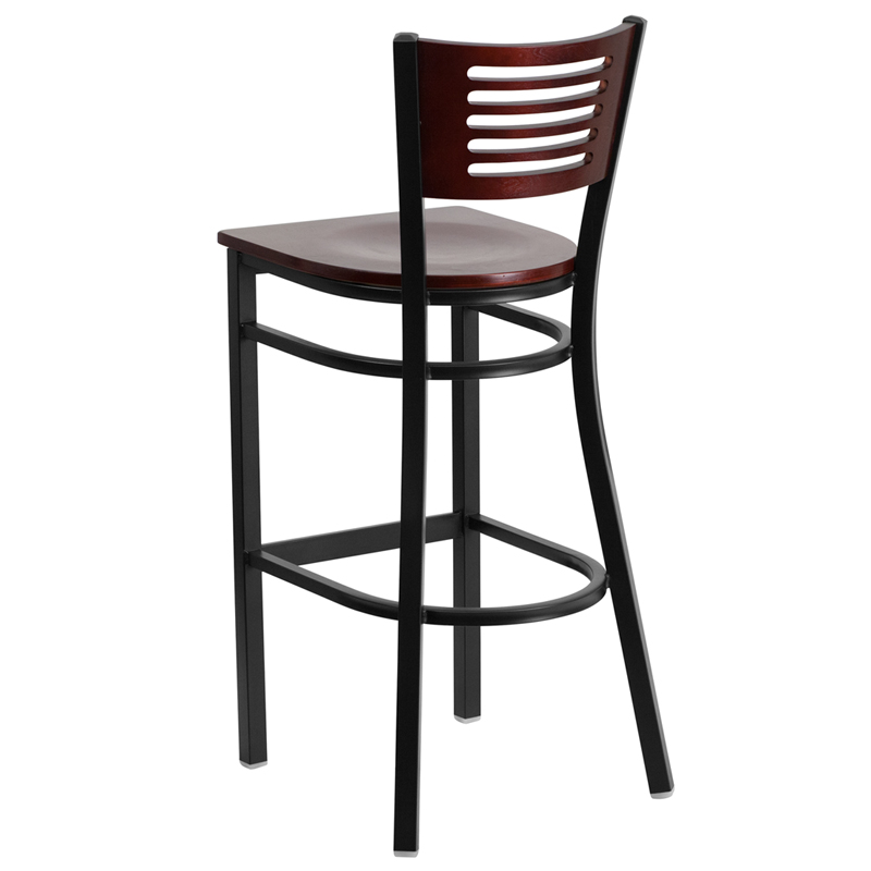 5 Line Wood Back Bar Stool