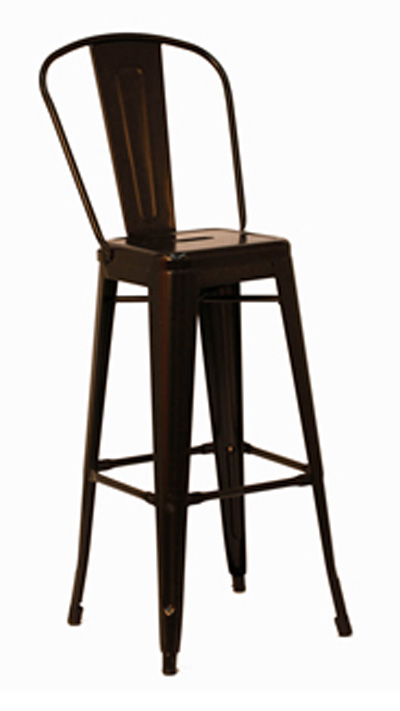 Galvanized Steel Black Indoor Outdoor Bar Stool