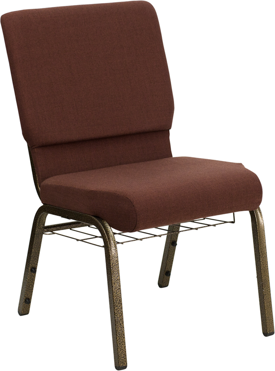 Gold Vein Frame 18.5 Inch Wide Church Chair with Small Basket