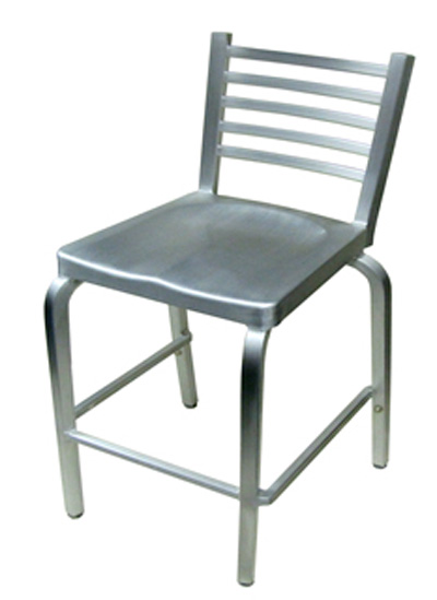 Indoor Outdoor Brushed Aluminum Ladder Back Bar Stool