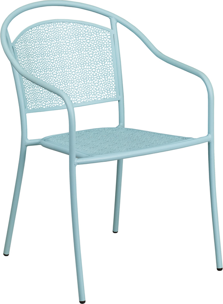 Indoor-Outdoor Colored Steel Patio Arm Chair with Round Back