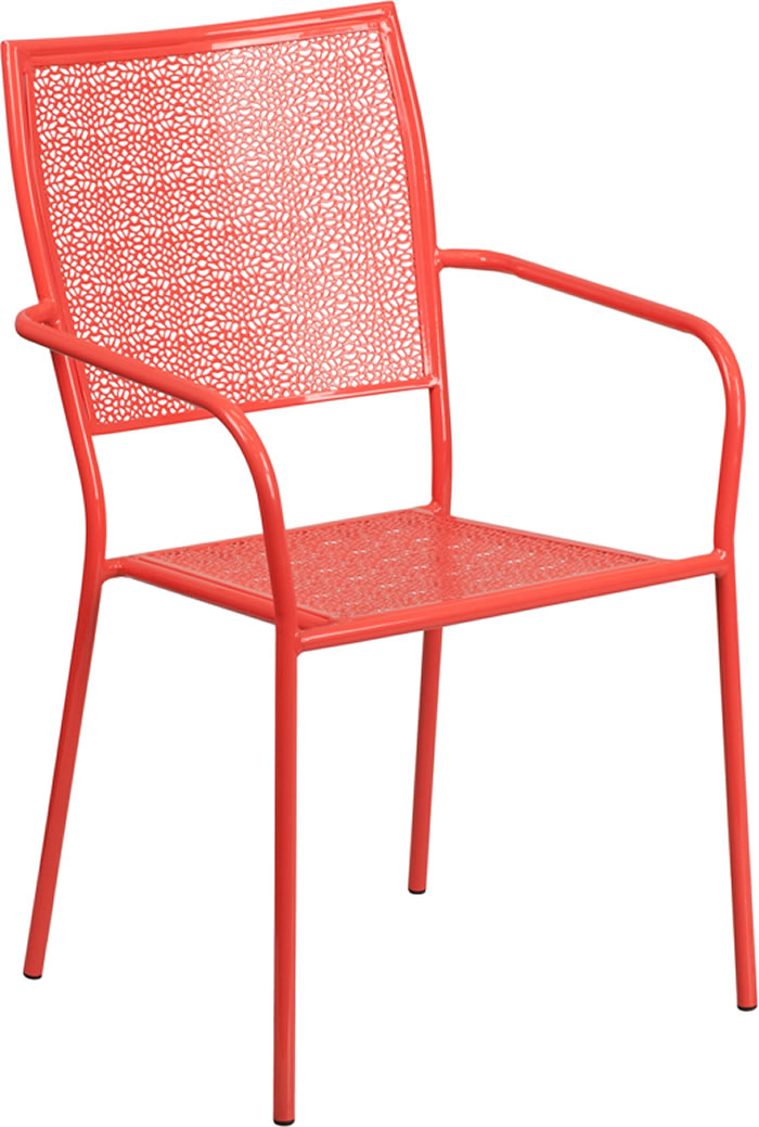 Indoor-Outdoor Colored Steel Patio Arm Chair with Square Back