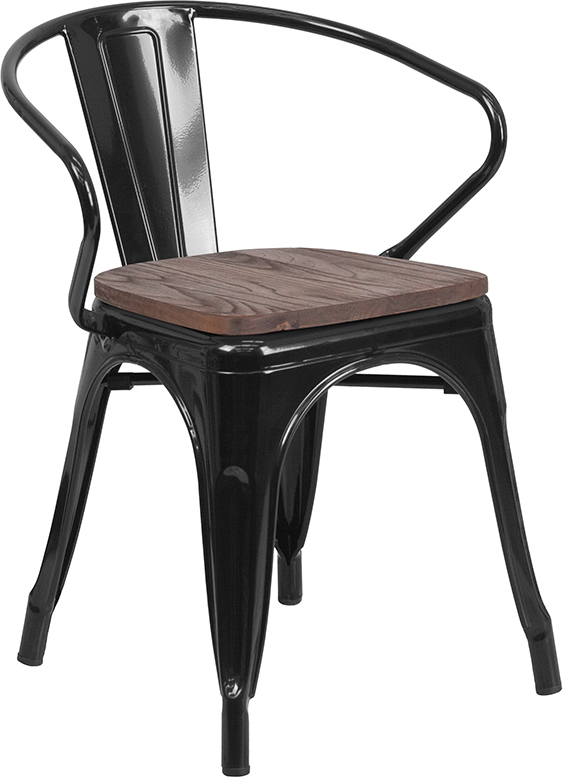 Industrial Metal Indoor Outdoor Arm Chair with Wood Seat