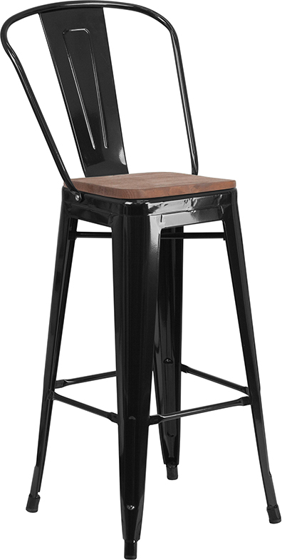 Industrial Metal Indoor Wood Seat Bar Stool
