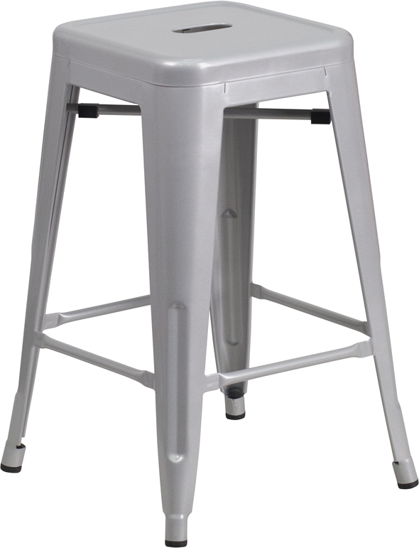 Industrial Metal Indoor Outdoor Counter Height Backless Stool