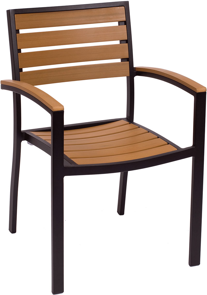 Largo Synthetic Teak Stackable Arm Chair