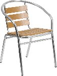 Aluminum Indoor-Outdoor Stack Chair with Triple Slat Faux Teak Back Picture 1