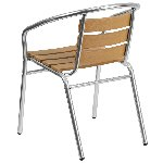 Aluminum Indoor-Outdoor Stack Chair with Triple Slat Faux Teak Back Picture 2