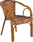 Cadiz Burning Brown Rattan Chair With Dk Red Bamboo Aluminum Frame Picture 1