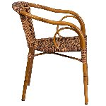 Cadiz Burning Brown Rattan Chair With Dk Red Bamboo Aluminum Frame Picture 2