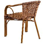 Cadiz Burning Brown Rattan Chair With Dk Red Bamboo Aluminum Frame Picture 3