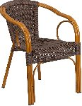 Cadiz Dark Brown Rattan Chair With Red Bamboo Aluminum Frame Picture 1