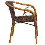 Cadiz Dark Brown Rattan Chair With Red Bamboo Aluminum Frame Picture 2