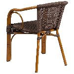 Cadiz Dark Brown Rattan Chair With Red Bamboo Aluminum Frame Picture 3