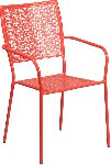 Indoor-Outdoor Colored Steel Patio Arm Chair with Square Back Picture 2