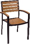 Largo Synthetic Teak Stackable Arm Chair Picture 1