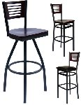 Mahogany Slotted Wood Back Bar Stool Picture 1