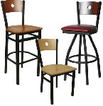 Metal Frame Moon Wood Back Bar Stool Picture 1