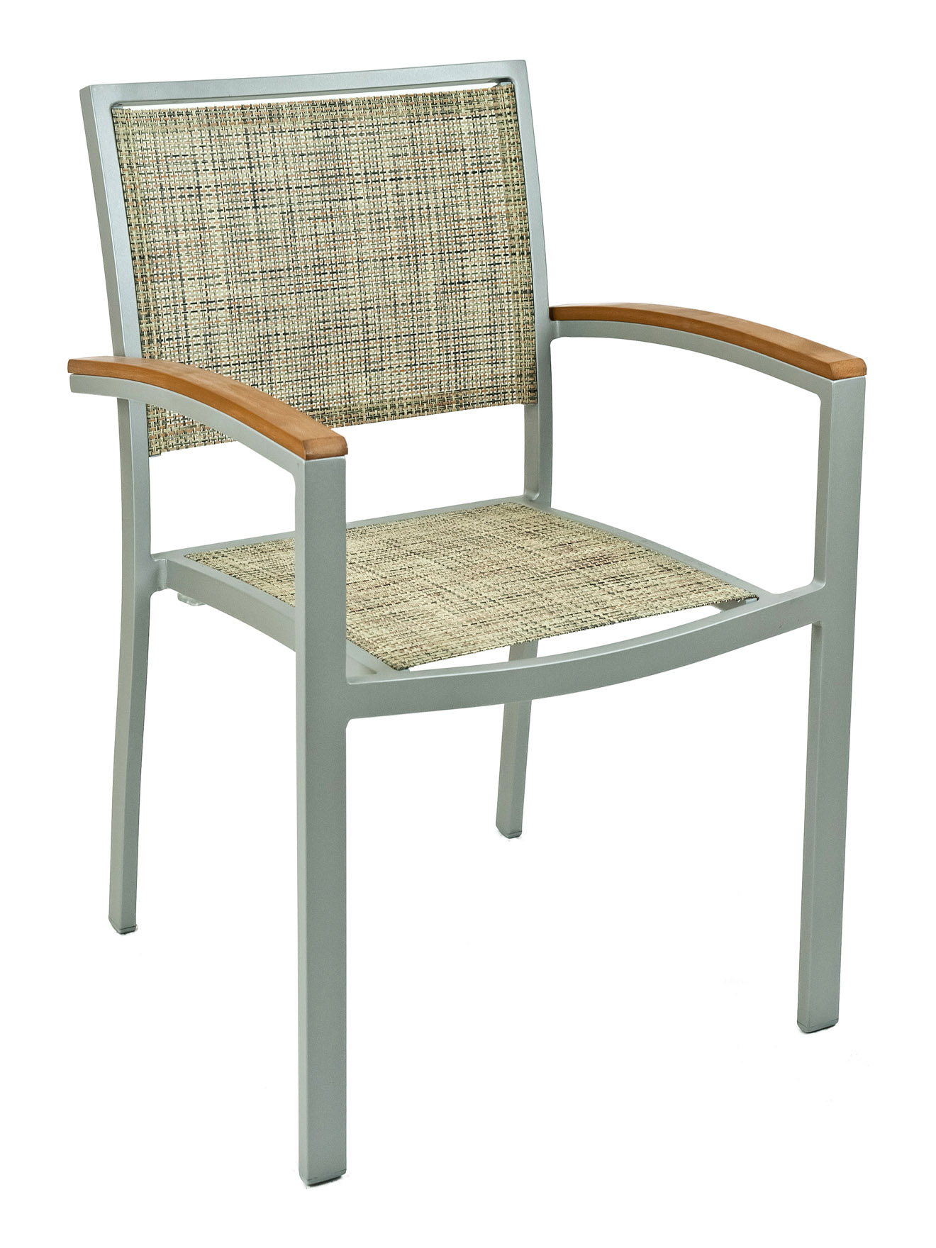 Mesh Fabric Aluminum Square Frame Arm Chair