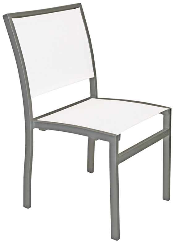 Mesh Fabric Aluminum Square Frame Side Chair