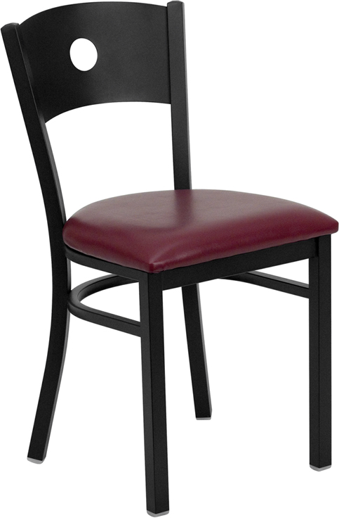 Metal Frame Black Wood Moon Back Chair