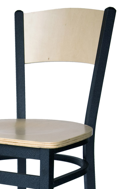 Metal Frame Solid Wood Back Side Chair