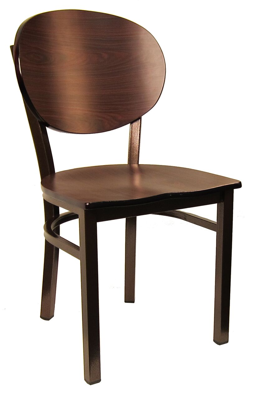 Metal Frame Wood Lollipop Back Chair