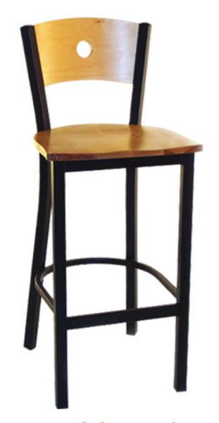 Metal Frame Wood Moon Back Bar Stool