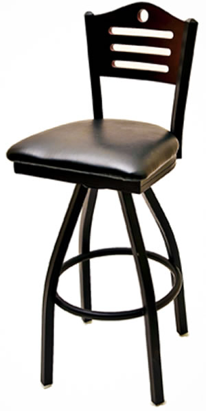 Metal Frame Wood Shoreline Back Swivel Bar Stool