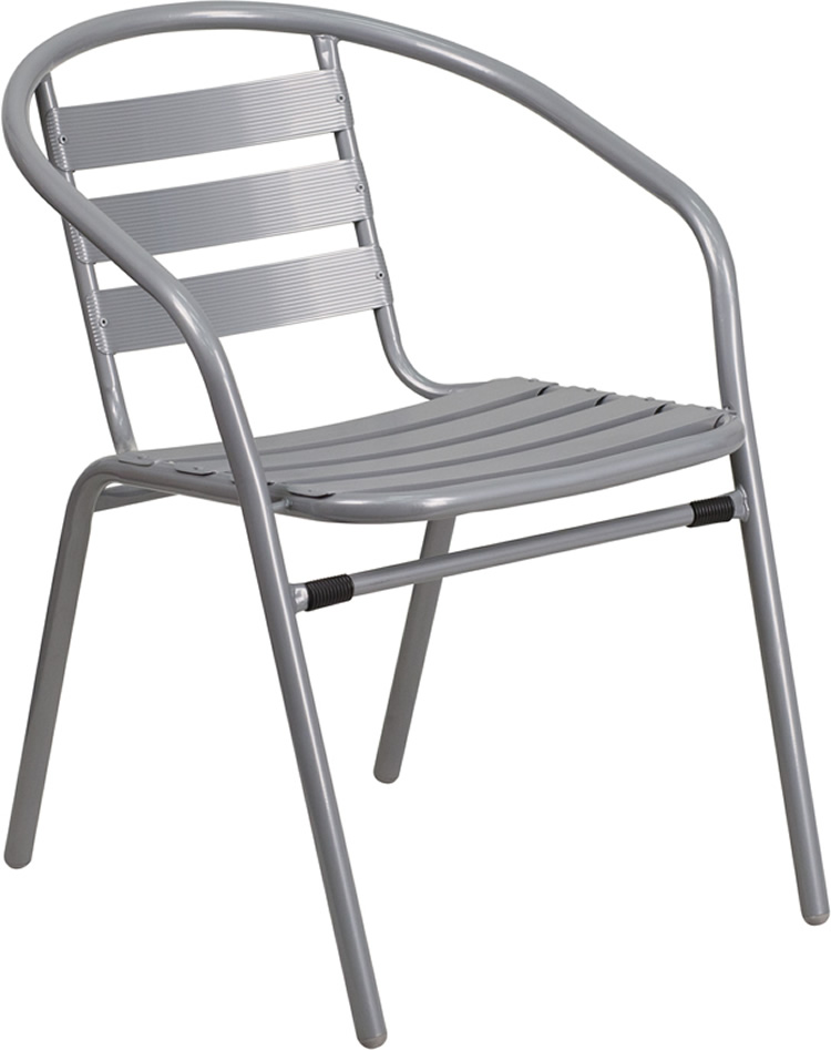 Colored Steel Restaurant Stack Chair with Aluminum Slats