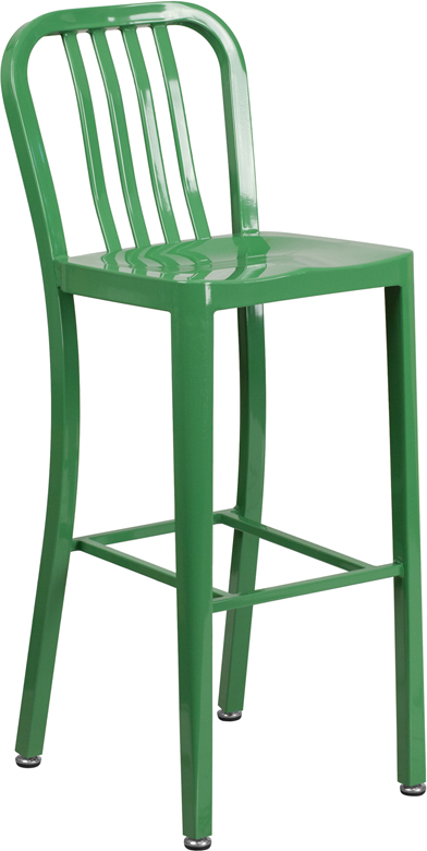 Metal Vertical Back Indoor-Outdoor Bar Stool