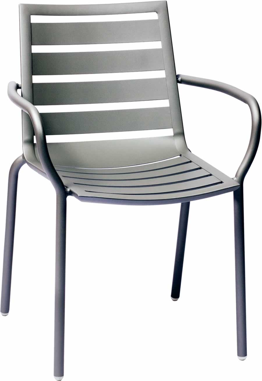 South Beach Titanium Silver Aluminum Arm Chair