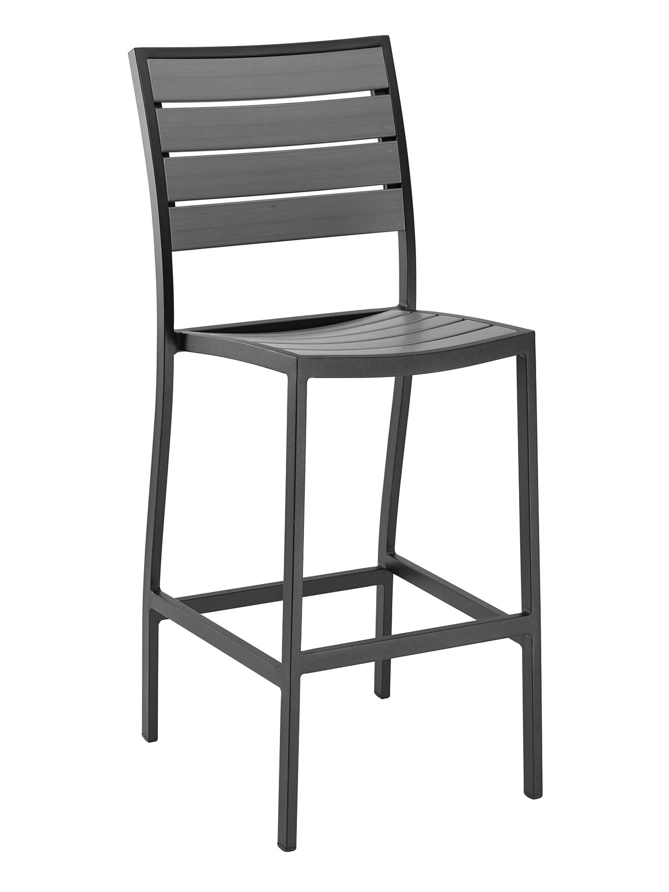 Teak Aluminum Square Frame ARMLESS Bar Stool