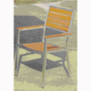 Teak Polished Aluminum Square Frame Arm Chair