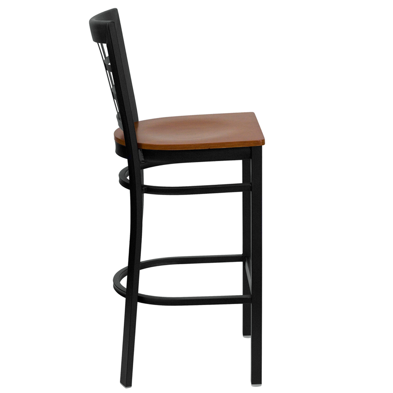 Window Pane Back Metal Frame Bar Stool