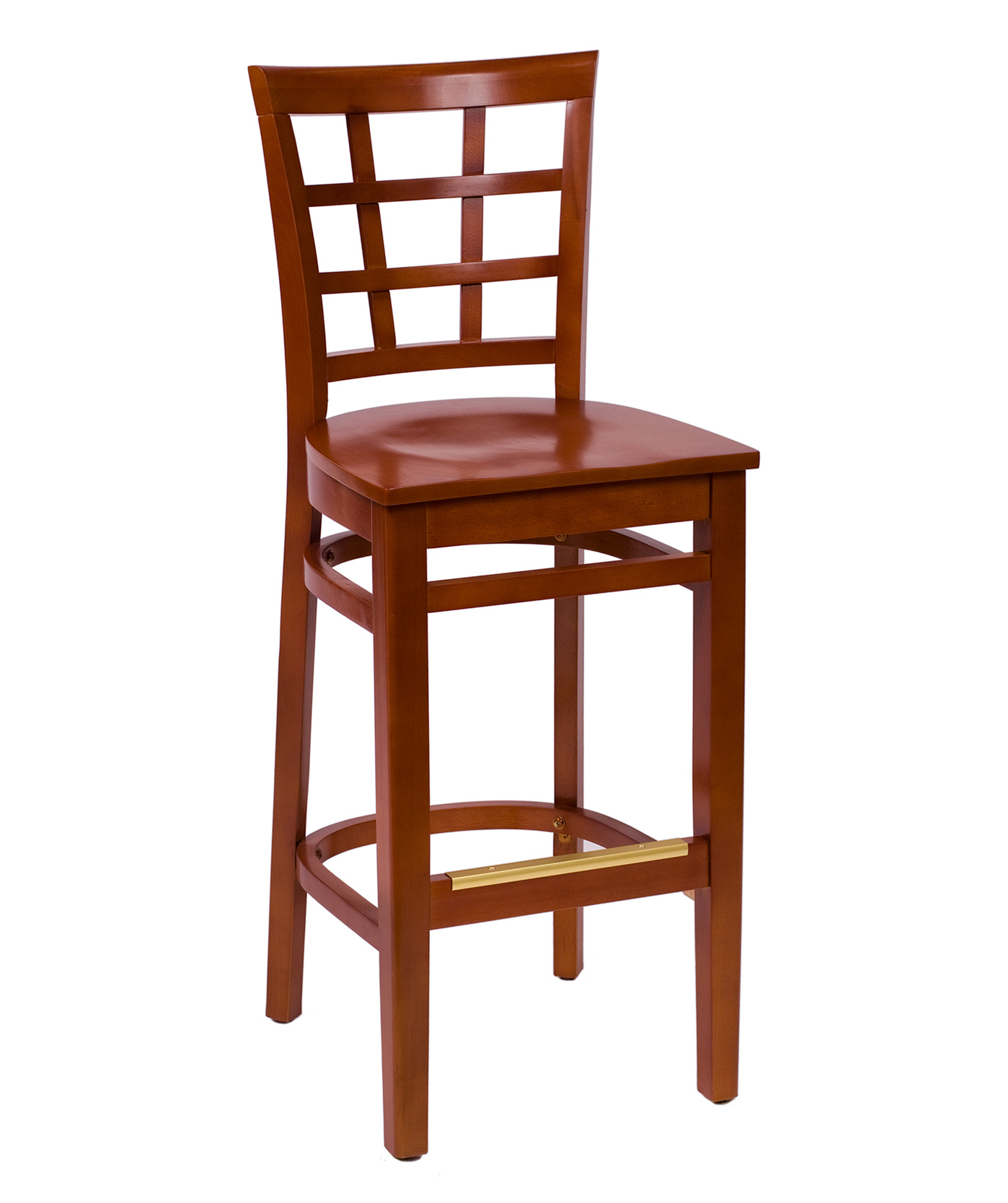 Wood Pane Back Wood Bar Stool