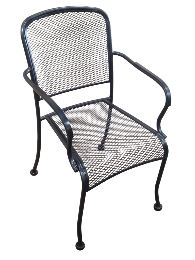 Wrought Iron Stackable Arm Chair