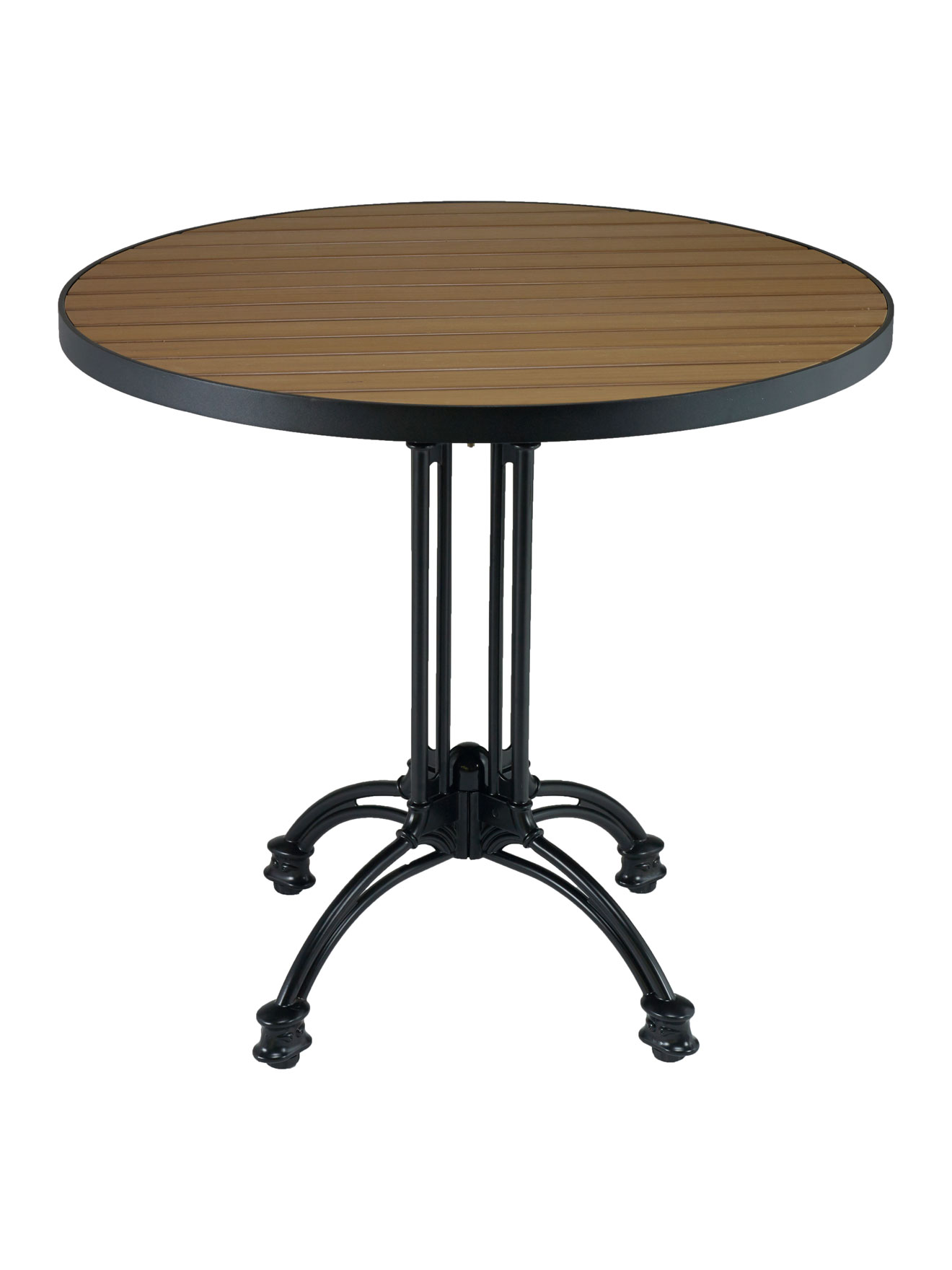 Faux Teak Metal Frame Round Table Top Picture 2