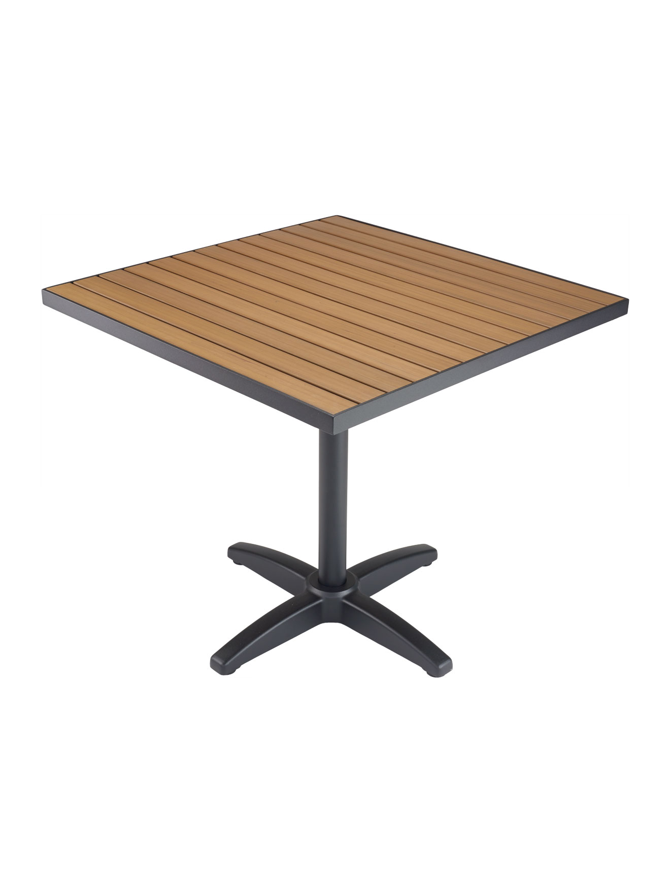 Faux Teak Metal Frame Square Table Top