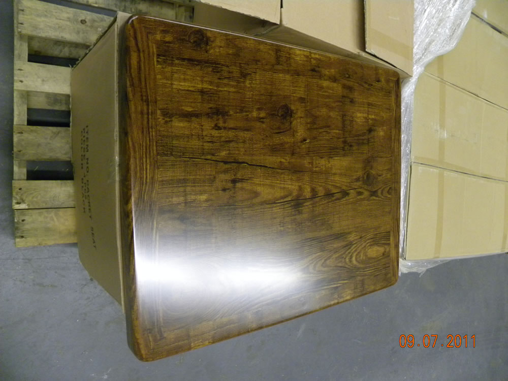 Resin Coated Veneer Square Table Top Picture 3